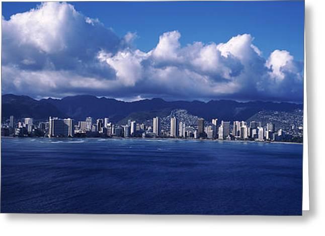 Waikiki Greeting Cards - City At The Waterfront, Waikiki Greeting Card by Panoramic Images