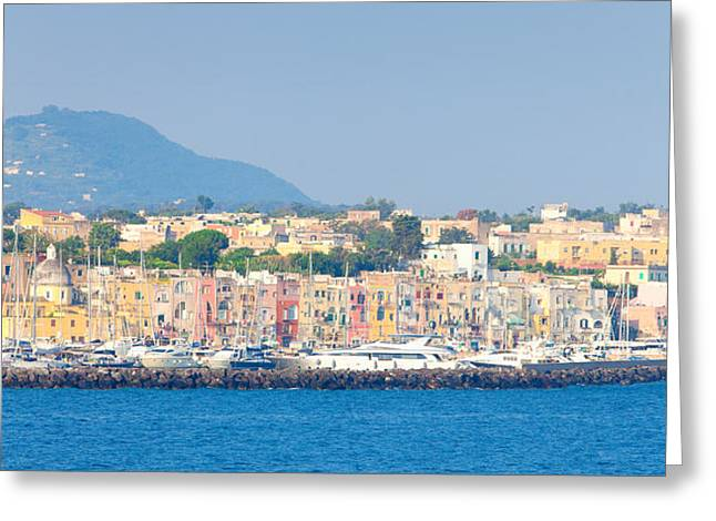 Naples Greeting Cards - City At Waterfront, Marina Grande Greeting Card by Panoramic Images