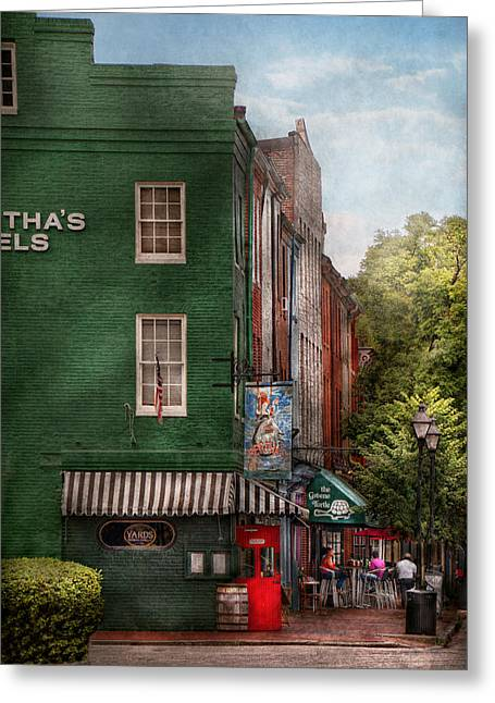 Cafe City Lights Greeting Cards - City - Baltimore - Fells Point MD - Berthas and The Greene Turtle  Greeting Card by Mike Savad