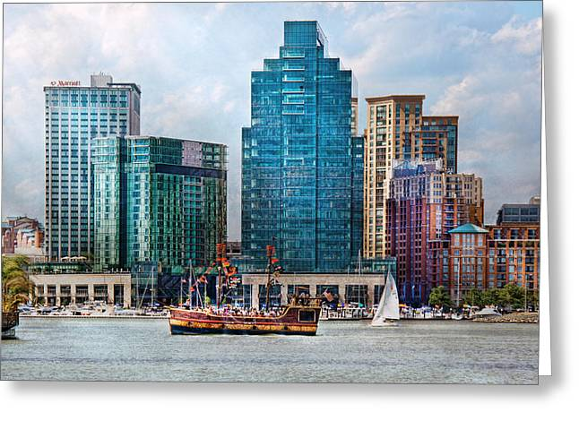 Pirate Ship Greeting Cards - City - Baltimore MD - Harbor east  Greeting Card by Mike Savad