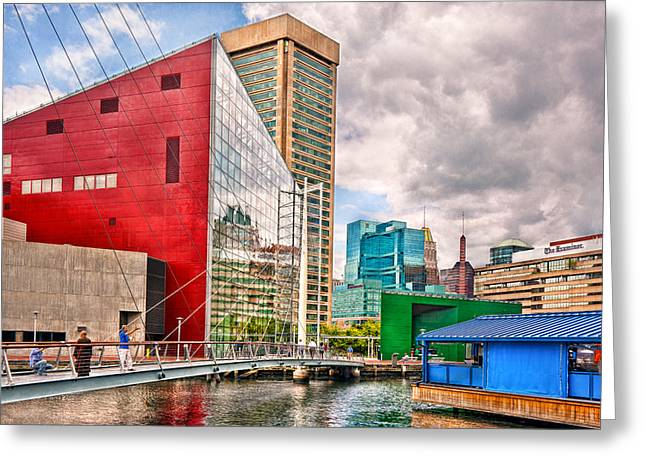 Custom Mirror Greeting Cards - City - Baltimore MD - Harbor Place - Future City  Greeting Card by Mike Savad