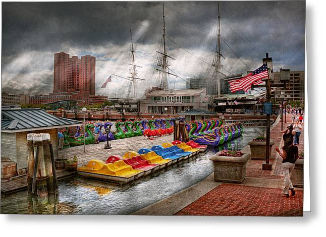 City - Baltimore MD - Modern Maryland Greeting Card by Mike Savad