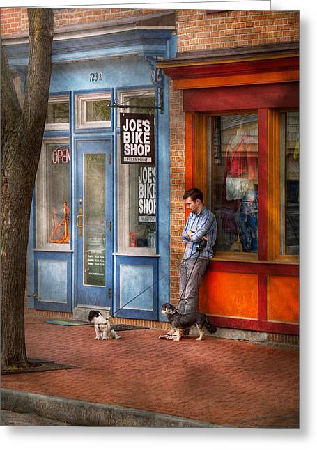Md Greeting Cards - City - Baltimore MD - Waiting by Joes bike shop  Greeting Card by Mike Savad