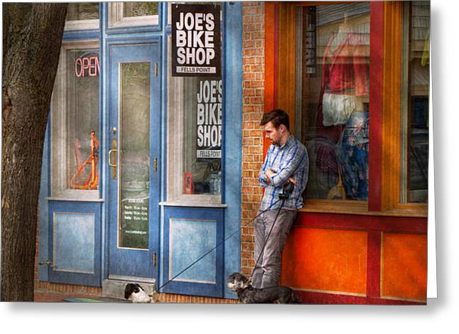 City - Baltimore MD - Waiting by Joe's bike shop  Greeting Card by Mike Savad