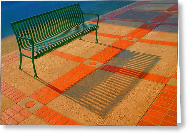 Man Made Abstract Greeting Cards - City Bench Still Life Greeting Card by Ben and Raisa Gertsberg