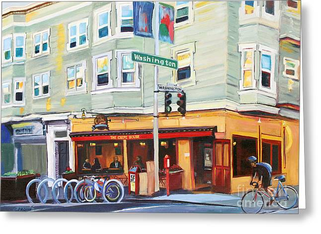 Rack Paintings Greeting Cards - City Bike at Polk and Washington Greeting Card by Colleen Proppe