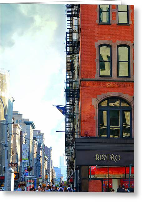 Chelsea Greeting Cards - City Bistro Greeting Card by Laura  Fasulo