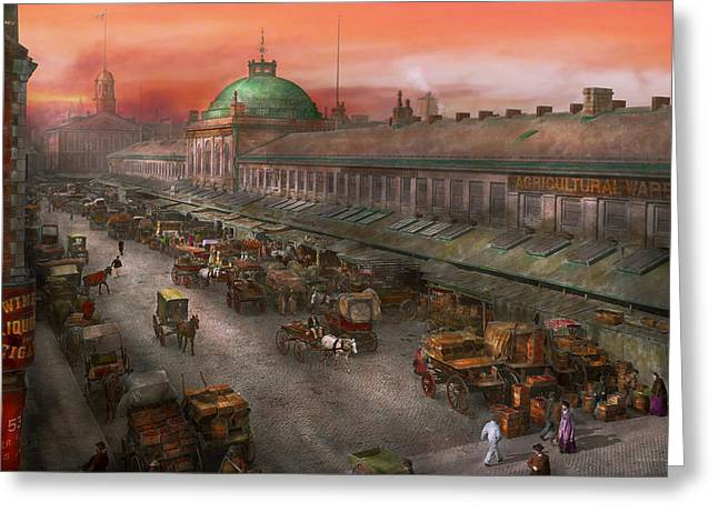 Pink Road Greeting Cards - City - Boston Mass - Morning at the farmers market - 1904 Greeting Card by Mike Savad