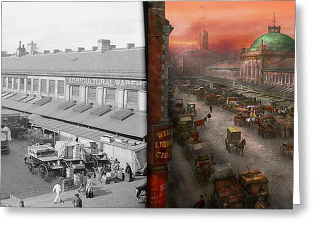 Pink Road Greeting Cards - City - Boston Mass - Morning at the farmers market - 1904 - Side by side Greeting Card by Mike Savad