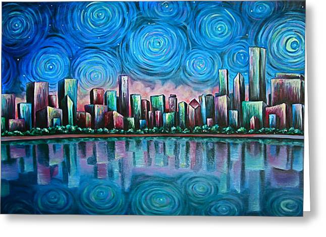 Dream Scape Paintings Greeting Cards - City By Starlight Greeting Card by Jim Figora