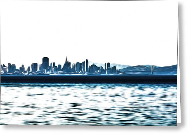 San Francisco Bay Mixed Media Greeting Cards - City By the Bay in Blue Greeting Card by Shanna DuGrosse