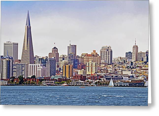Buildings By The Ocean Greeting Cards - City By The Bay Greeting Card by Sindi June Short