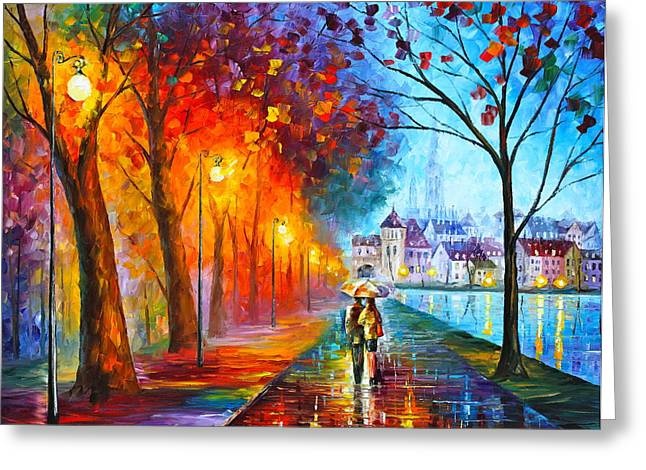 Original Oil Paintings Greeting Cards - City By The Lake Greeting Card by Leonid Afremov