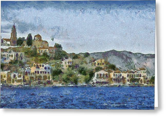 Ocean Landscape Drawings Greeting Cards - City by the Sea Greeting Card by Ayse Deniz