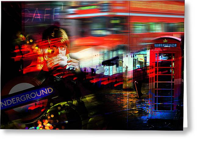 Night Cafe Greeting Cards - City Cafe Culture Greeting Card by Mal Bray