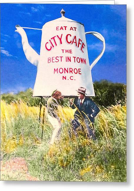 City Cafe - Nostalgic Monroe North Carolina Greeting Card by Mark E Tisdale