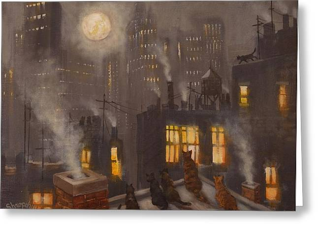 Recently Sold -  - City Lights Greeting Cards - City Cats Greeting Card by Tom Shropshire