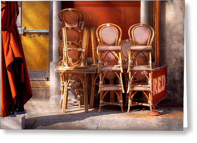 Italian Restaurant Greeting Cards - City - Chairs - RED Greeting Card by Mike Savad