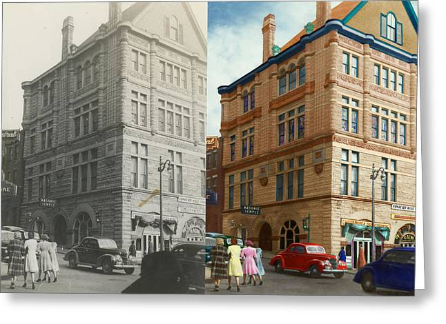 Tennesee Greeting Cards - City - Chattanooga TN - 1943 - The Masonic Temple - BOTH Greeting Card by Mike Savad