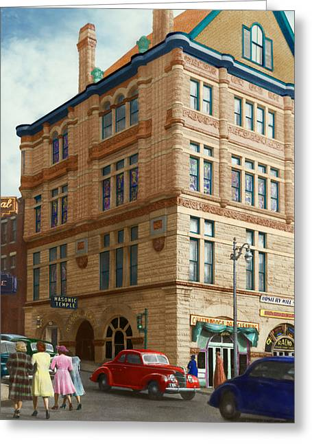 Tennesee Greeting Cards - City - Chattanooga TN - 1943 - The Masonic Temple Greeting Card by Mike Savad