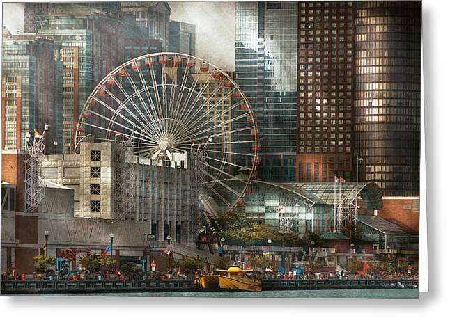 Chicago Circle Greeting Cards - City - Chicago IL - Pier Pressure Greeting Card by Mike Savad