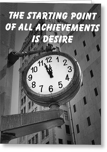 New Concepts Greeting Cards - City Clock quote-1 Greeting Card by Rudy Umans
