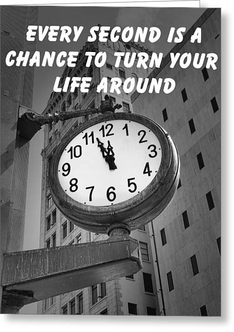 City Clock Quote-2 Greeting Card by Rudy Umans