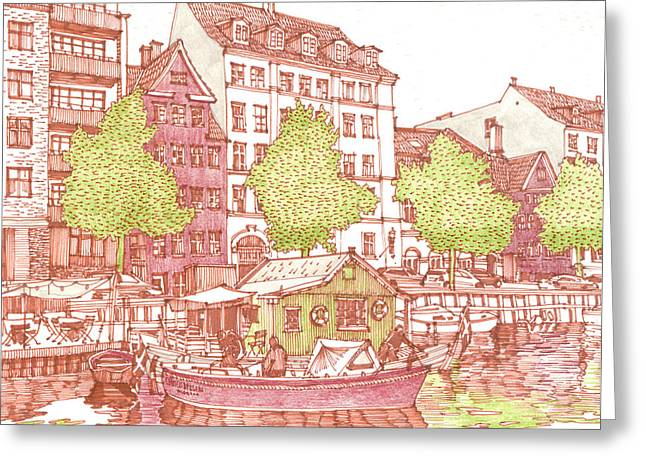 Tile Drawings Greeting Cards - City. Copenhagen Greeting Card by Olga Sorokina