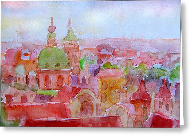 Prague Paintings Greeting Cards - City Dawn Greeting Card by James Huntley