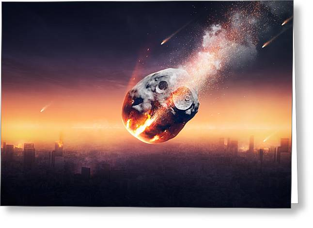 Hitting Greeting Cards - City destroyed by meteor shower Greeting Card by Johan Swanepoel