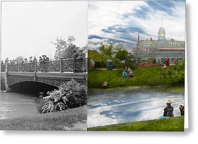 Historic Home Greeting Cards - City - Detroit MI - The Family Renunion -1900 - Side by side Greeting Card by Mike Savad