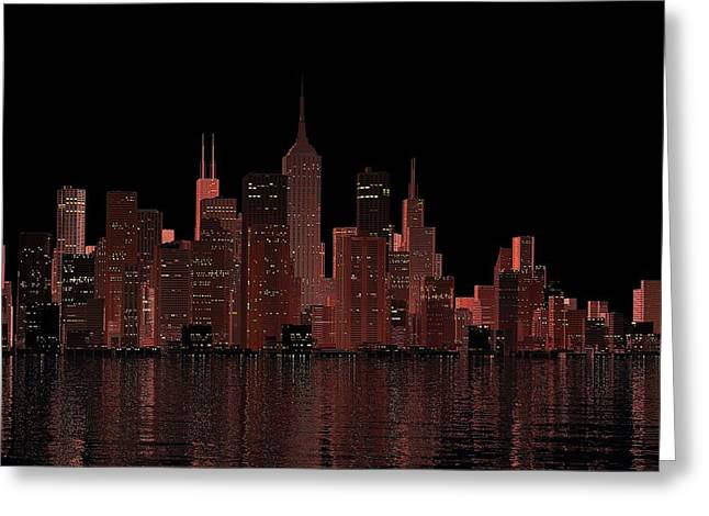 City Lights Digital Art Greeting Cards - City Dusk Greeting Card by Louis Ferreira