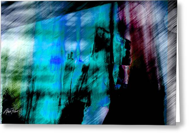 Blue And Purple Abstract Greeting Cards - City Dwellers abstract art Greeting Card by Ann Powell