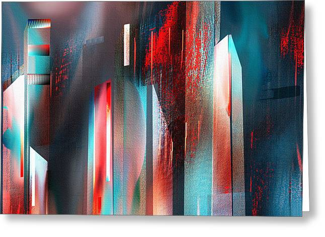 Night Cafe Mixed Media Greeting Cards - City Escape Greeting Card by Yul Olaivar