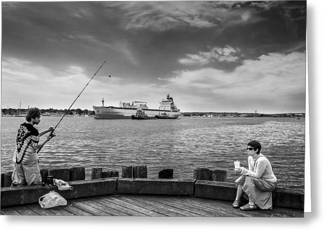 City Fishing Greeting Card by Bob Orsillo