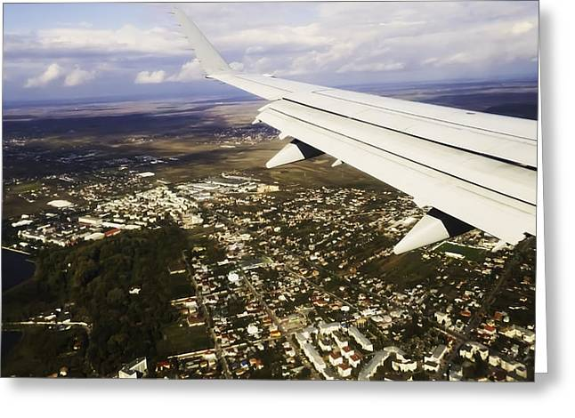 Airplane Greeting Cards - City From Above Greeting Card by Bogdan Dumitrescu