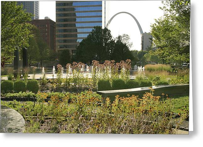 City Garden Greeting Cards - City Gardens and the Arch Greeting Card by Garry McMichael