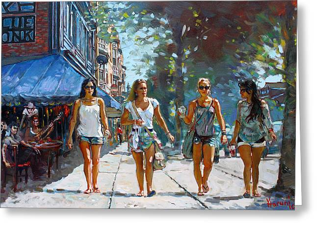 Shopping Greeting Cards - City Girls Greeting Card by Ylli Haruni