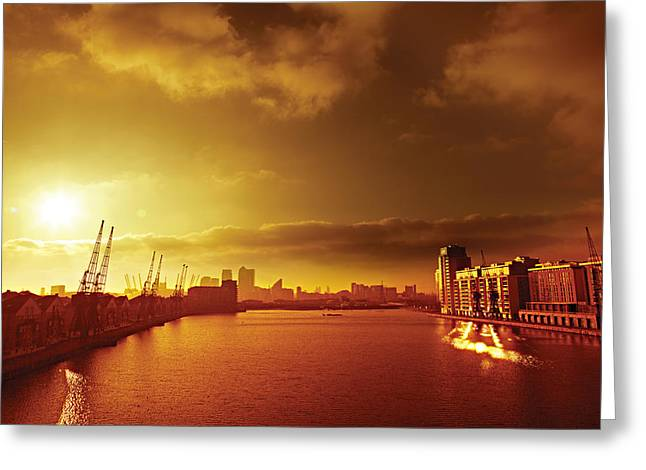 Posters Greeting Cards - City Gold Greeting Card by David Davies