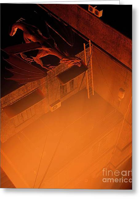 Imaginary City Greeting Cards - City Guardian - Flame Greeting Card by Fairy Fantasies