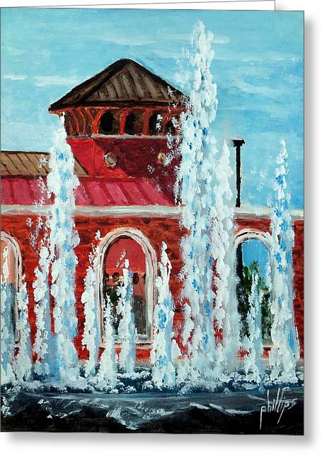 Cityhall Paintings Greeting Cards - City Hall and Fountain Greeting Card by Jim Phillips