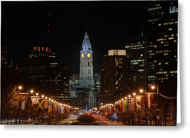 Philadelphia Skyline Greeting Cards - City Hall at Night Greeting Card by Jennifer Lyon