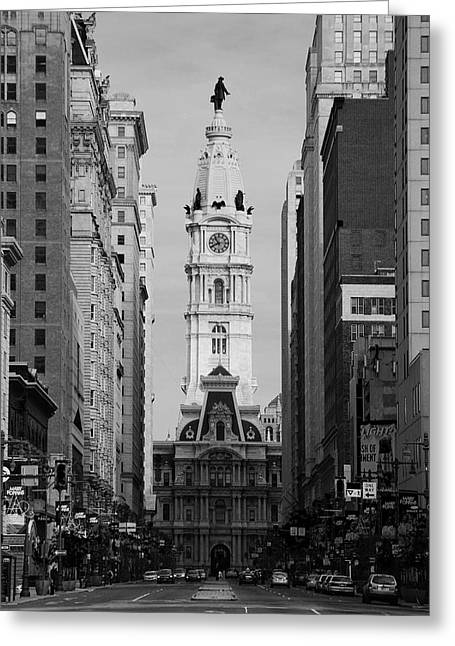 City Hall Greeting Cards - City Hall b/w Greeting Card by Jennifer Lyon