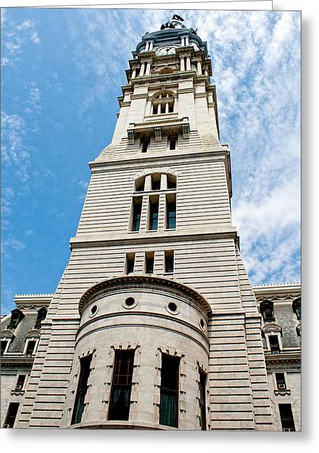 Renaissance Center Greeting Cards - City Hall Clock Tower   Greeting Card by Kristia Adams