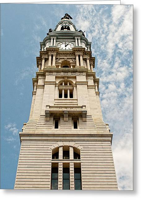Renaissance Center Greeting Cards - City Hall Clock Tower II Greeting Card by Kristia Adams
