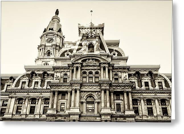 Philadelphia Park Greeting Cards - City Hall Facade - Philadelphia - Sepia Greeting Card by Bill Cannon