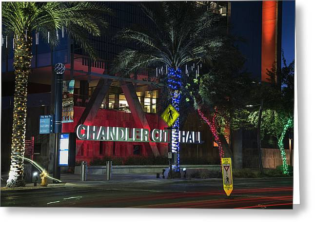 Chandler Greeting Cards - City Hall in Chandler Arizona Greeting Card by Dave Dilli