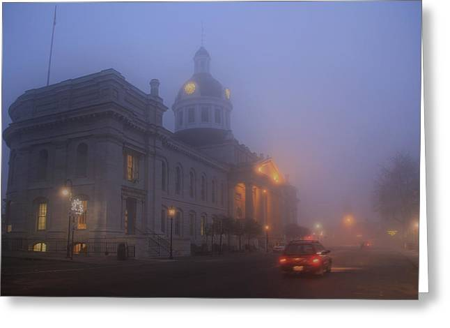 Kingston City Hall Greeting Cards - City Hall in Fog Greeting Card by Jim Vance
