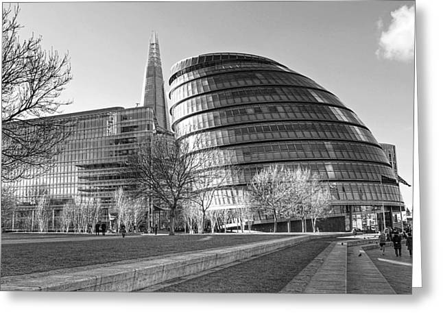 City Hall Greeting Cards - City Hall London and The Shard Greeting Card by Gill Billington