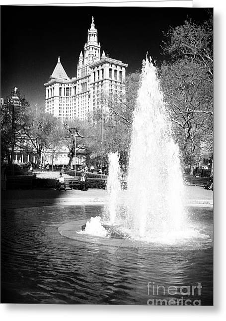City Hall Greeting Cards - City Hall Park Fountain 1990s Greeting Card by John Rizzuto